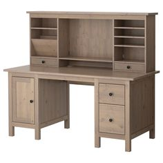 HEMNES Desk with add-on unit - gray-brown - IKEA OFFICE