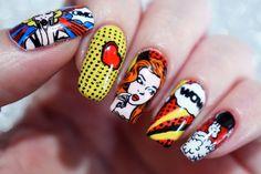 Pop Art Nails by from Nail Art Gallery Cartoon Nail Art Pop Art Nails, Cool Nail Art, Cute Nails, Pretty Nails, Nail Manicure, Nail Polish, Diy Sharpie, Basic Nails, Nail Art For Beginners