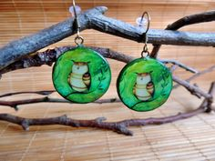 Little owl earrings, wearable art, unique artistic earrings - pinned by pin4etsy.com