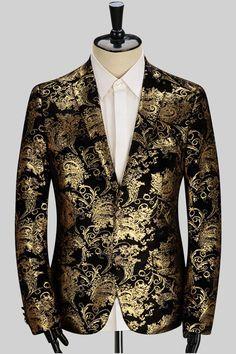 Golden Print Jacket In Black