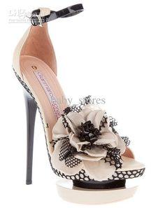 Wholesale Gianmarco amp; women flowers pumps Lady High Heels Dual Platform Buckle hot Sandals