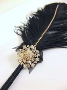 Large Elegant Black Feather Pen with Gold Sunflower Brooch / Wedding Signing Pen / Guest Book Pen / Wedding Reception Accessories / on Etsy, $32.00
