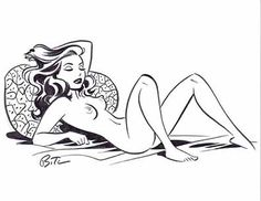 Bruce Timm - Brunette Laying on Back - Nude Comic Art