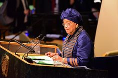 Liberia's Ellen Johnson Sirleaf speaks. The United Nations 72nd General Assembly began with speeches from world leaders ranging from Brazil's  Michel Temer, to Donald Trump, Benjamin Netanyahu, Ellen Johnson Sirleaf of Liberia, Emmanuel Macron of France, Juan Emanual Santos Calderon of Columbia, Emomali Rahmom of Tajikistan as the day progressed.