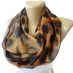leopard scarf trends ,women infinity scarf ,chiffon scarves ,brown ,fashion accessory ,eternity scarf on Etsy, $19.00