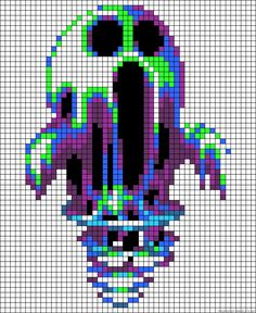 Spooky and awesome! Pixel Art Templates, Perler Bead Templates, Diy Perler Beads, Pearler Bead Patterns, Perler Bead Art, Perler Patterns, Cross Stitching, Cross Stitch Embroidery, Cross Stitch Patterns