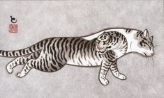 yu-ko Tigre, illustration de Kazuaki Horitomo Kitamura Japanese Tiger Tattoo, Japanese Sleeve Tattoos, Japanese Cat, Japanese American, Japanese Dragon, Korean Art, Asian Art, Handpoked Tattoo, Black Cat Tattoos