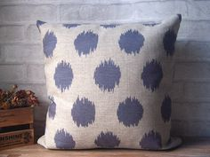 Decorative linen pillow with blue ikat dots -ikat dots pillow made with cotton linen - blue dots cushion cover - gift on Etsy, CHF 20.68