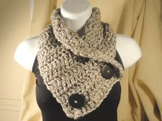 Crochet Scarf Cowl Neck Warmer with Buttons
