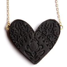 rosita bonita Sweet Black Heart Large Pendant ($45) ❤ liked on Polyvore