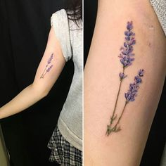 @drensen just finished this beautiful soft Lavender tattoo for Sara. #watercolourtattoo #lavender ...