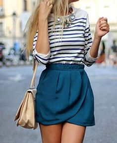 Latest Summer 2015 Trends - Stripped Top & Indigo Mid Skirt Casual Look