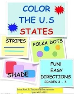 Fun! Ready to print states/capitals/shapes  state worksheets. Answers included. Students color the maps according to their instruction sheets. Great for small groups.  All maps included.  Flashcards provided  for state/capitals/shapes. Laminate for future use. 39 pages. priced item.