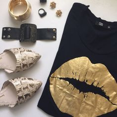 •HOST PICK• Rare Gold Lips top by Markus Lupfer • NWT Crisp black long sleeve cotton shirt with big ol' kiss me golden lips. This shirt is adorable! Wear with jeans for a casual look or pair with a skirt and heels! Excellent Condition. Markus Lupfer Tops