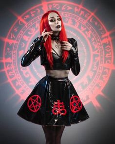Black PVC fetish gothic skater skirt with satanic symbols. Gothic Makeup, Gothic Beauty, Ladies Of Metal, Goth Women, Black Heart, Satan, Gothic Fashion, Vintage Looks, Skater Skirt