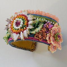 Floral bead embroidery  OOAK cuffEBWC July Challenge by daniellart, $185.00