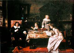 Munkácsy Mihály - A vak John Milton diktálja leányának az Elveszett paradicsom című művét (1878)