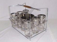 Vtg Mid Century Silver Band Polka Dot 14 Pc Bar Glass Set W/ Ice Bucket  & Caddy