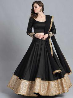 Buy Bollywood Vogue Black Sequinned Made To Measure Umbrella Lehenga & Blouse With Dupatta - Lehenga Choli for Women from Bollywood Vogue at Rs. Blouse Lehenga, Lehnga Dress, Lehenga Choli Online, Bandhani Dress, Choli Designs, Lehenga Designs, Indian Lehenga, Designer Kurtis, Outfit
