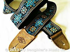 USA Made GUITAR Strap JIMI Hendrix HIPPIE Blue PEACOCK Distressed BROWN Leather | eBay
