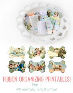 Ribbon organization printables from Free Pretty Things For You Ribbon Organization, Craft Organization, Craft Storage, Sewing Crafts, Diy Crafts, Sewing Ideas, Silk Ribbon Embroidery, Lace Ribbon, Scrapbook
