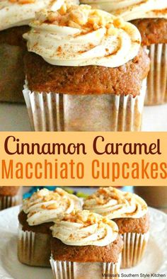 Cinnamon Caramel Macchiato Cupcakes With Cream Cheese Frosting - Mother Deliciouse Recipes Brownie Desserts, Oreo Dessert, Mini Desserts, Coconut Dessert, Fall Desserts, Just Desserts, Delicious Desserts, Mexican Desserts, Tasty Meals