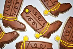 44 ideas cookies cowboy boots for 2020 Date Cookies, Iced Cookies, Royal Icing Cookies, Sugar Cookies Recipe, Yummy Cookies, Horse Cookies, Toy Story Birthday, Toy Story Party, Cupcakes
