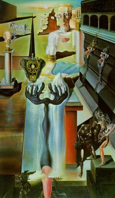 Sunday Dalí: The Invisible Man, 1929. This was the first painting in which Dalí began to use the double images that were to flood his work over the next decade, during his paranoia-critical period. The double images used here are not as successful as the later painting,Swans Reflecting Elephants (1937). The viewer is aware of the illusions that Dalí is creating before they are aware of what the overall form is meant to be. The yellow clouds become the mans hair; his face an