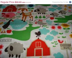 HOLIDAY SALE Farm Life Fabric by Michael Miller by sewcraftscorner, $7.57