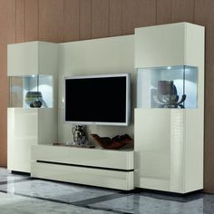 Modern wall unit entertainment centers in white with led light for modern living room furniture idea Entertainment Wall Units, Entertainment Center Wall Unit, Fancy Living Rooms, Living Room Modern, Small Living, Living Room Wall Units, Living Room Furniture, Modern Furniture, Library Furniture