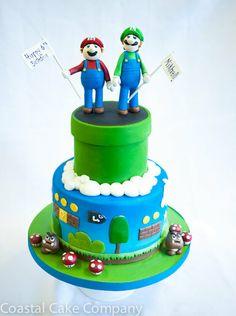 Mario & Luigi Say Happy Birthday Cake by CoastalCakeCompany