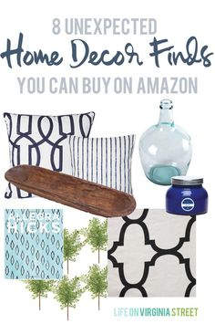 8 Unexpected Categories of Home Decor Items on Amazon via Life On Virginia Street. So many great finds!