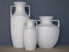 Three ceramic urns by Hornsea Potteries, circa