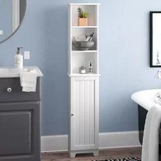 Linen Tower Storage Freestanding White Finish Wooden Shelves Bathroom Furniture for sale online Cabinet Shelving, Open Shelving, Tall Cabinet Storage, Fitted Bathroom, Small Bathroom, Bathroom Ideas, Rental Bathroom, Bathroom Updates, Dream Bathrooms