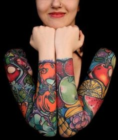 Colorful and fruity sleeves. #tattoo #tattoos #ink