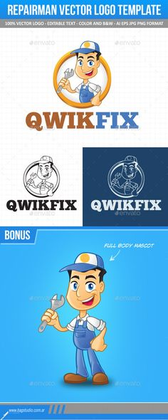 Repairman Vector Logo Template & Mascot — Transparent PNG #service #person • Available here → https://graphicriver.net/item/repairman-vector-logo-template-mascot/10678160?ref=pxcr