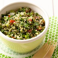 Quinoa gives this side dish a lot of nutritional bang for your buck. You can also add a few pieces of leftover chicken or pork to turn tabouli into a meal. It also works well as a vegetarian main dish.