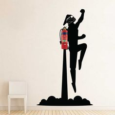 Rocketeer Jetpack flying Fire Extinguisher Vinyl Wall Art Decal - Wall decal become a new way to decorate your home. our wall decals are easy-to-apply, removable and safe for most wall surfaces. Office Wall Art, Office Walls, Vinyl Wall Art, Wall Decals, Signage Design, Creative Walls, Fire Extinguisher, Paint Designs, Wall Design