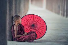 พระ, Paraguas, Comer, Asia, Bagan
