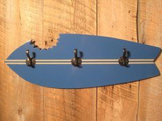 Wooden Surfboard Coat or Hat Rack  by TheSquareNail on Etsy, $59.00