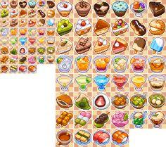 ドット絵洋菓子和菓子カクテルアイコン Pixel Art Food, Pixel Art Games, Prop Design, Game Design, Sprites, Badges, Pix Art, Cute Food Art, Cute Food Drawings