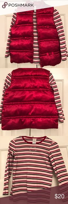 Gymboree Cranberry Puffer Vest & Striped Tee Gymboree Cranberry puffer vest and coordinating Long Sleeve striped tee.  Vest zips up the front.  Tee has cranberry, pink, white, and brown stripes and a crystal heart on the chest.   Vest is. Size 5-6 and tee is a 5. Gymboree Jackets & Coats Vests