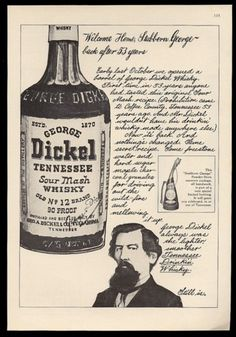 1965 George Dickel Tennessee Whisky Founder Portrait Vintage Print Ad | eBay