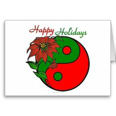 Holiday Yin Yang Poinsettia Green Red Greeting Card by Lee Hiller #Photography and #Design