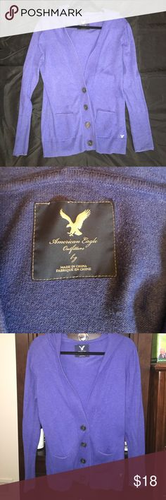 Blue American Eagle Hooded Cardigan Very little wear, super pretty blue color. Fits true to size as a Large. American Eagle Outfitters Sweaters Cardigans