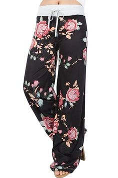 Aifer Women's Pajama Comfy Chic Floral Print Lounge Drawstring Palazzo Long Wide Leg Pants at Amazon Women's Clothing store: