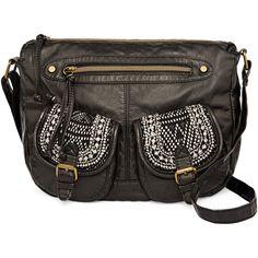 T-Shirt & Jeans™ Washed Mini Flap Crochet Hobo Bag (€19) ❤ liked on Polyvore featuring bags, handbags, shoulder bags, crochet purse, zipper flap purse, imitation handbags, miniature purse and hobo handbags