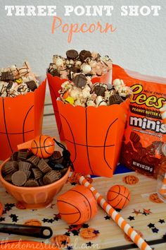 Host the Ultimate Basketball Birthday Party. Love these Reese's Three Point Shot Popcorn treat cups! Sports Snacks, Team Snacks, Basketball Birthday Parties, Sports Birthday, 13th Birthday, March Madness, Party Time, Oreo, Treats