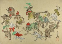 Kyosai. Sketch. Man led in triumph by animals. Ink and colours on paper.