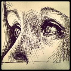 Pen and ink art of beautiful eyes